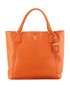 Daino+Snap-Top+Tote+Bag,+Orange+by+Prada+at+Neiman+Marcus.USD 1.490