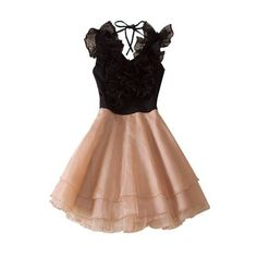 Black Round Neck Sleeveless Ruffles Polyester Tiered Dress ($72) via Polyvore