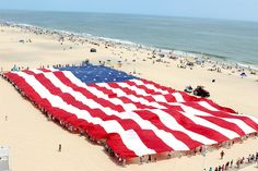More than 250 volunteers helped to keep the 850-pound flag aloft at Ocean City's Memorial Day celebration on May 28.