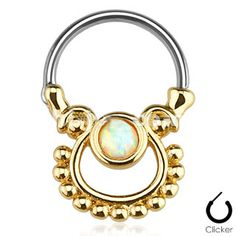 Surgical Steel Silver Ion Plated Round Septum Ring Clicker Blue