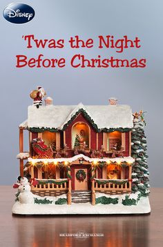 "What's so magical about this collectible Christmas sculpture? Individual rooms, featuring some of your favorite Disney characters, light up as Mickey Mouse narrates the beloved poem ""'Twas the Night Before Christmas."""