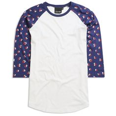 Lazy Oaf Rubble Baseball T-shirt (310 ARS) ❤ liked on Polyvore featuring tops, t-shirts, shirts, men, baseball top, white tee, white baseball shirt, lazy oaf and t shirts