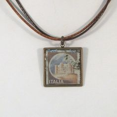 Vintage Italian Canceled Postage Stamp Pendant Necklace  by 12be, $14.50