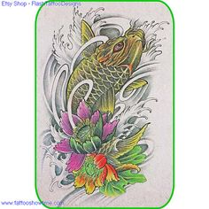 Koi & Flower Tattoo Design 22 for you on Etsy. Top quality high resolution color design, with tattoo stencil outline. Instant download only $1.95. Get the body art you deserve. Many other designs.