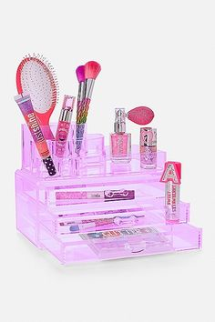 Just Shine Beauty Organizer Makeup Kit For Kids, Kids Makeup, Justice Accessories, Barbie Accessories, Makeup Beauty Room, E Claire, Unicorn Room Decor, Baby Doll Nursery, Cute Bedroom Decor