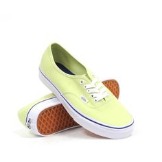 Vans Authentic (Shadow Lime/True White) Women's Shoes ($45) ❤ liked on Polyvore featuring shoes, sneakers, green, lacing sneakers, white lace up shoes, white sneakers, lime shoes and vans trainers