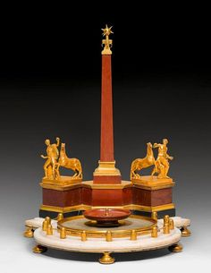 In the shape of an Obelisk, this beautifull Antique Inkstand / Standish / Inkwells 'LA FONTAINE DES DIOSCURES', Louis XVI, attributed to G. VALADIER (Giuseppe Valadier, 1762 Rome 1839), Rome ca. 1815/20.