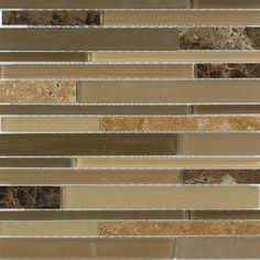 Shop 12 x12 Nexus Toasted Almond Random Brick Polished + Frosted Glass & Stone Tile in Beige, Olive + Nude at TileBar.com.