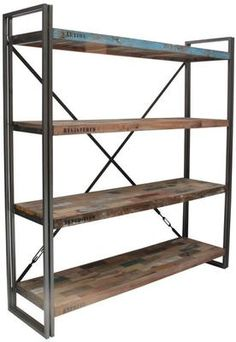 Occa Industrial Recycled Boatwood Bookcase by Occa Home