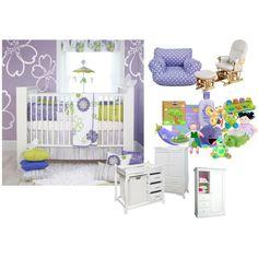lavendar.green baby girl nursery, created by stylush on Polyvore