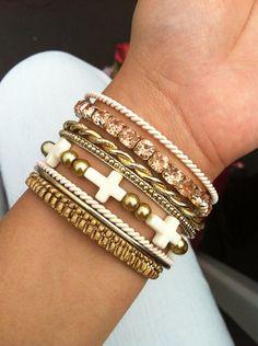 Ivory Cross Beaded Bracelet by Madess on Etsy