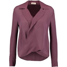 L'Agence Rita wrap-effect washed-silk georgette blouse (230 CAD) ❤ liked on Polyvore featuring tops, blouses, grape, draped blouse, wrap around blouse, draped wrap top, purple blouse and wrap top