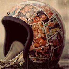 How To Sticker Bomb Helmet Motorcycle Helmet Design, Biker Helmets, Motorcycle Gear, Vintage Helmet, Vintage Racing, Bmx, Biker Accessories, Biker Wear, Motorcycle Stickers