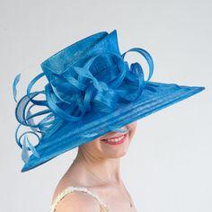 Women's Dressy Derby Church Wedding Royal Blue Wide Brim Feather Sinamay Hat #Kakyco #ChurchDress #Formal