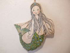 Hand-painted little mermaid soft doll 16 by TheVoyagers on Etsy