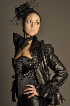 2b6fb95bed Black Luxury Leather Corset Steampunk Victorian Burlesque Couture Dress Coat