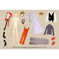 The David Bowie paper doll 18x12 inches print by ClaudiaVarosio