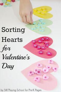 sort heart valentines for preschool
