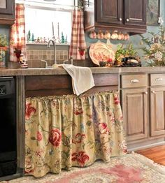 Curtain Ideas For Kitchen Farmhouse Decor. 50 Sweet Shabby Chic Kitchen Ideas Country Style Curtain Very Nice In The Kitchen Feel . Home and Family French Country Curtains, French Country Bedrooms, French Country House, French Country Decorating, Farmhouse Curtains, Farmhouse Decor, Farmhouse Christmas Kitchen, Country Christmas, Rustic Country Kitchens