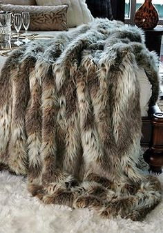 Faux Fur Throw highest quality blanket Russian Lynx Faux fur luxury blanket throw feels like real fur soft cozy fun fake fur limited edition