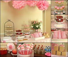 Chá de Panela decorado em tons de rosa pastéis. Fofo demais!