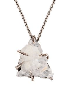 Blue Zeolite & Silver Claw Necklace by Lauren Wolf Jewelry at Gilt