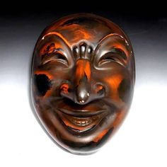 Japanese Vintage Pottery 能楽 Noh & Kagura Mask of Chikyu (地球) A very happy Noh character from the Many Faces of Japan on Ruby Lane