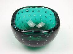 Venini bullicante green glass bowl by Carlo Scarpa
