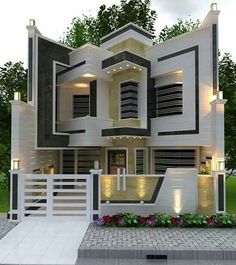 Modern home design ideas. Contemporary house designs have a whole lot to offer to a modern dweller. Finally, the modern house architecture does not restrict creative minds in any way. Design Exterior, Facade Design, Modern Exterior, Architecture Design, House Main Gates Design, House Front Design, Cool House Designs, Classic House Design, Modern House Design