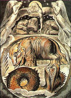 """What Is the Behemoth?: """"Behemoth and Leviathan"""" by William Blake, from his Illustrations of the Book of Job. William Blake, Tarot, Apocalyptic Literature, Book Of Job, Dante Gabriel Rossetti, Sea Monsters, Mythical Creatures, Alien Creatures, Oeuvre D'art"""