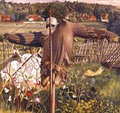 Scarecrow, Cookham, 1934 by Stanley Spencer on Curiator, the world's biggest collaborative art collection. Stanley Spencer, Landscape Art, Landscape Paintings, Landscapes, Irish Art, Garden Painting, Garden Art, Harlem Renaissance, Photography