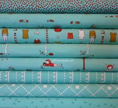 Little Apples by Aneela Hoey for Moda - 8 Fat Quarter Bundle in Aqua.via Etsy.