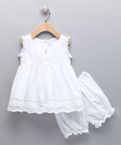Love this Little Cotton Dress White Embroidered Santy