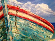 Velero grande barco aceite pintura lienzo rojo vela pintura