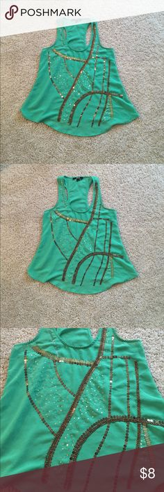 Green tank with gold sequins Sheer lightweight green tank top with gold sequins, the sequins on the left shoulder have lost the color. Used condition but still super cute ! Tops Tank Tops