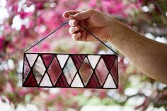 This spring inspired geometric panel is available in the shop today! Check out the glass combination 😍💕🌸🌺. This piece is perfect to help keep the joyful energy of spring vivid in your home all year! Modern Stained Glass, Window Ledge, Stained Glass Suncatchers, Necklace Display, Handmade Home Decor, Colored Glass, Pretty In Pink, Clear Glass, Garland