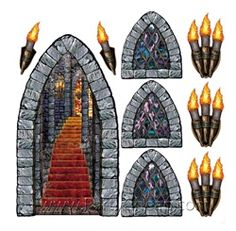 Castle Stairway, Window, and Torch Props (9/Pkg)- cheap might help with look of room. backdrop maybe?