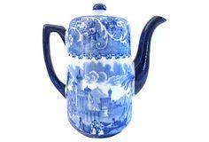 Antique Two-Cup Flow Blue Teapot on OneKingsLane.com