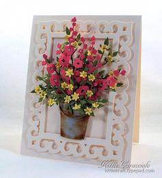 Garden Pail and Hollyhocks card by kittiekraft (Impression Obsession Hollyhocks, Pail, Tiny Flowers, Leafy Branch)