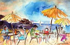 Papagayo Beach Bar In Lanzarote Print by Miki De Goodaboom