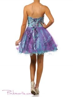 urple / Turquoise Bustier Top with Beaded Sweetheart Chest Cocktail Dress
