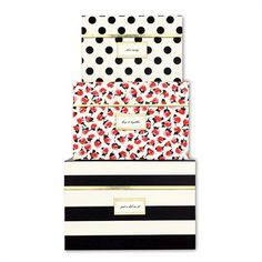 kate spade new york Nesting Boxes. Who knew Kate Spade now had nesting boxes! Kate Spade New York, Nesting Boxes, Do It Yourself Home, Storage Boxes, Ikea Storage, Small Storage, Black Stripes, Planer, Just In Case