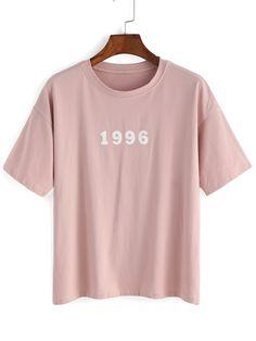 T-Shirt mit Buchstaben Druck- German SheIn(Sheinside)