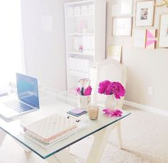 B is for Bonnie Design pink and gold office inspiration!