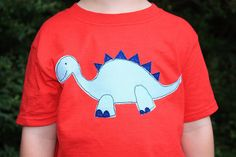Dudley the Dinosaur free-motion appliqué PDF sewing pattern - add dinos to t-shirts, bags, cushions and more for a unique gift