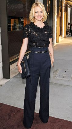 Black lace top with navy wide leg slacks and minimal accessories? This entire look is PERFECTION!