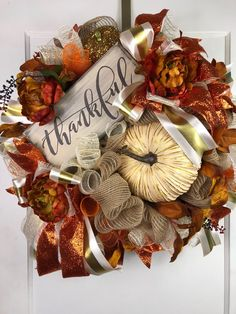 Fall Wreath, Fall Door Wreath, Fall Decorations, Fall Decor, Fall Wreath with Sign, Thanksgiving Wreath