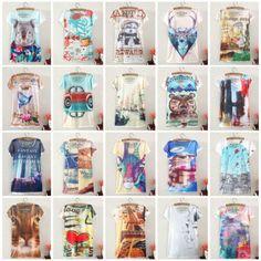 New Vintage Harajuku Fashion Summer 2015 Digital Print Short Sleeve T Shirt Women T-Shirt Clothing Cotton Print Tee Blouse Tops