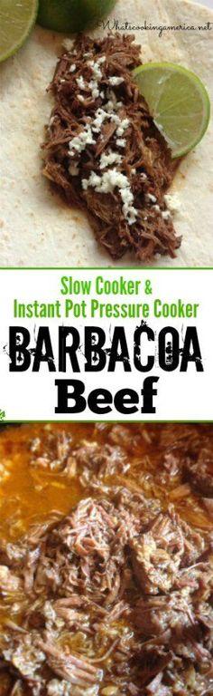 Slow Cooker & Instant Pot Pressure Cooker Instructions  |  whatscookingamerica.net  |  #barbacoa #beef #slowcooker #crockpot #instantpot #pressurecooker