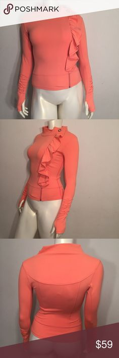 Karma San Suu Post Workout Jacket Size Small One of the cutest post workout jackets everrr!! Karma added a little frill to workout fashion. The color is like a tangerine orange, and the style name is San Suu. This garment is in like new condition. There are no defects, stains, or holes. Size Small Karma Jackets & Coats